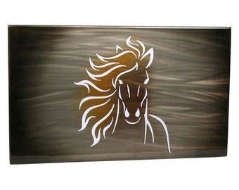 Horse Painting Aluminum Art Panel, gift for her, modern wall art, running horse art, modern horse art, lobby wall art, office wall art