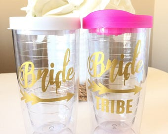 Bride and Bride Tribe Tumbler Set, Bachelorette Party and Bridesmaids, Personalized 16oz Tumbler Cup