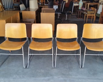 Set Vintage 1960's David Rowland 40/4 Stack Chairs Mid Century Modern Birch Plywood Chrome Sled Base MCM
