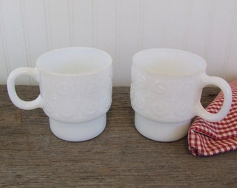 White Milk Glass Mugs, Vintage, Set of 2 Mugs, Coffee Mugs