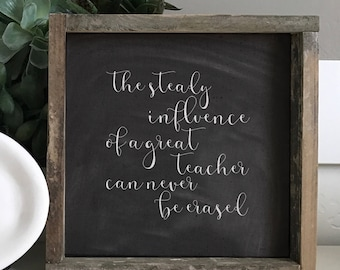Great Teacher Script  // 9x9 Handmade Sign
