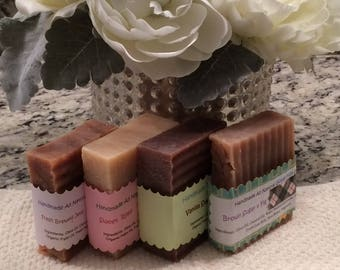4 Vegan Goatsmilk soap handmade Organic Natural bundle lot moisturizing vitamin