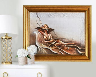 Oil Painting Original Canvas Painting - Unknown Women - Gold Leaf Original Painting Impasto Gold Painting Women on Art Textured Knife Art