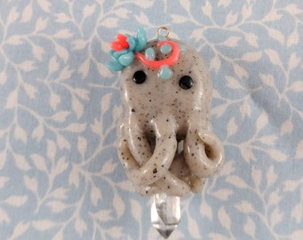 Crystal octopus pendant / Octopus jewelry / polymer clay charm / octopus pendant / sea creature / succulent necklace / succulents plant