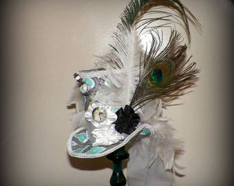 Fascinator Top Hat Mini Green White  Gothic Cosplay Costume Steampunk Bridal Kentucky Derby  Tea Party