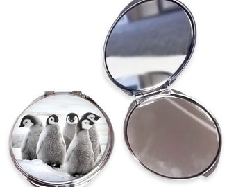 Animal Compact Mirror - Mum Daughter Nan Mom Sister Friend Gift Christmas Birthday Penguins