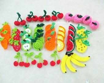 Fruit crochet : crochet,flowers, handmade, craft, crochet fruits, mini fruits, handmade Thailand, Thai doll, bancrochet,fruits, cherry,apple