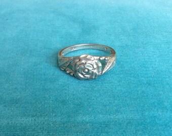 Vintage Sterling Silver Rose Flower Ring *Signed*