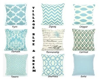 Village Blue Pillow Covers, Cushions, Decorative Throw Pillows, Chevron, Damask, Home Decor, Geometric One or More Mix & Match All Sizes