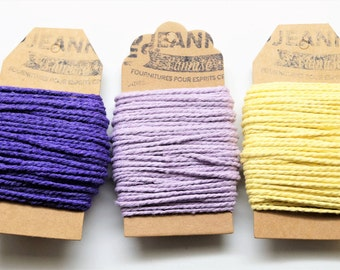 Kit 3 coupons cotton strings baker's twine, purple, pale purple, pale yellow, 3 x 10 m