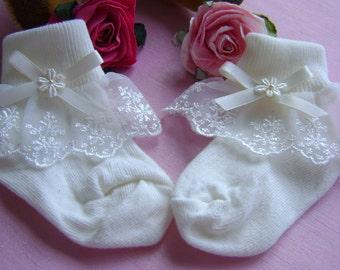 Baby Girl Ivory Frilly socks - Christening/Wedding/Birthday