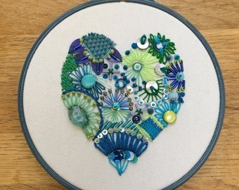 Embroidered heart, blue and green modern embroidery, hand embellished heart, modern textile art, beaded heart, Mother's Day gift