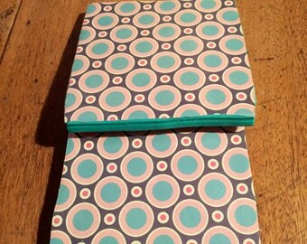 Recycled Handmade Ceramic Tile Coasters Set of Two Pink/Turquoise/Grey Circle Design
