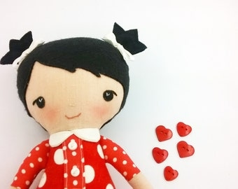 """Fabric doll 10"""" tall with black hair Rag doll with red dotted dress Cloth doll Baby girl gift Doll with black eyes Miniature doll"""