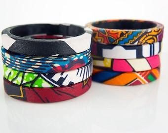 African Fabric Bangles - Ankara & Kente Bangles - African Print Bangles - African Fabric Covered Wood Bangles