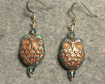 Light aqua with copper wash Czech glass owl bead earrings adorned with light aqua Chinese crystal beads.
