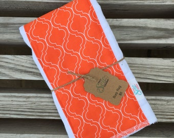 Orange Quatrefoil CLOTH DIAPER Burp RAG