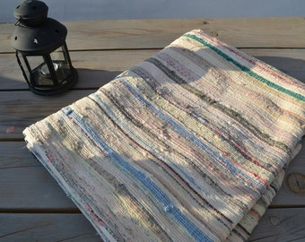 vintage portuguese rag rug, lovely faded colours, handmade