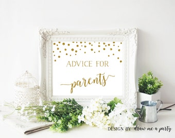 Advice For New Parents , Gold Baby Shower Decorations , Advice For Parents To Be , Gold Baby Shower Sign , Confetti Printable Sign