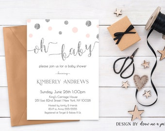 PINK and Silver BABY SHOWER Invitation , Oh Baby Girl Invitation , Pink and Silver Glitter Baby Shower Invitation , Printable Pink and Gray