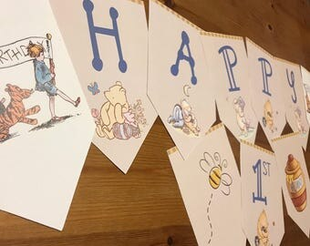 Classic Winnie the Pooh Birthday Banner
