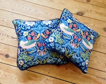 William Morris // Strawberry Thief // Vintage Cushion Pillows // Arts and Crafts // Pair //