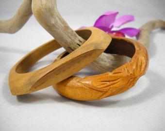 Bangle Bracelets Wood Jewelry Carved Wood Beach/Resort/Natural/Organic/Boho/Hippie/Folk/Tribal