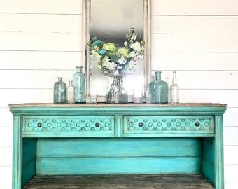 Sold!!! Aqua blue Farmhouse painted buffet, coastal painted entryway cabinet