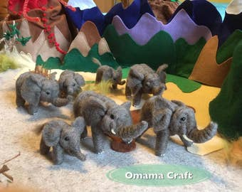 Needle Felt Animal Sculpture - Elephant