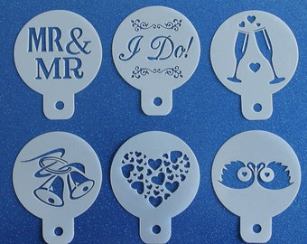 Pack of 6 Gay Wedding and Civil Parnership CUPCAKE STENCILS Mr & Mr, I Do, Hearts etc