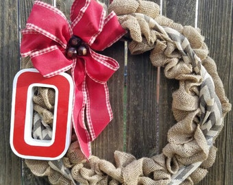 Burlap Ohio State Wreath/Ohio State Buckeye/Ohio State Décor/OSU Accessories/Buckeye Nation