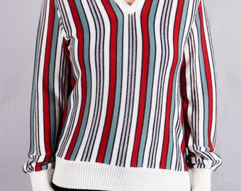 Vintage striped sweater - 70s sweaters - sweater - vintage 1970 - women's sweaters - red - white - green - 70s look - causal look - size M