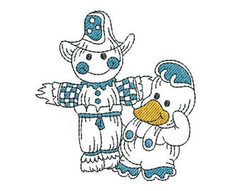 Cute Duck Machine Embroidery Design, Farm Duckling with Scarecrow, Cute Linework Duckling Machine Embroidery Design No: JG00002-6