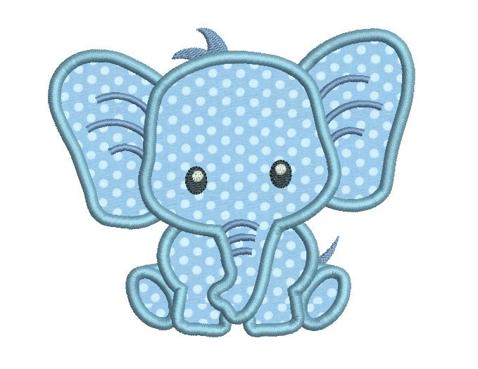 Baby elephant applique machine embroidery design cute