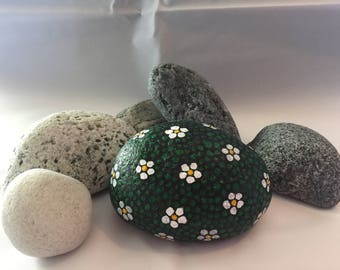 Hand painted beach stone from the Isle of South Uist, Outer Hebrides, Scotland