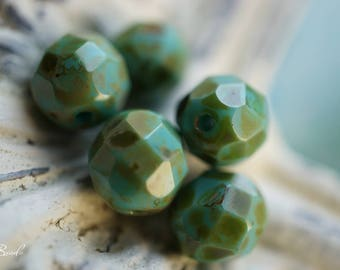 Opaque Turquoise, Czech Beads, Beads