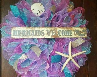 Mermaid Wreath, Mermiads Welcome, Mermaid, Mermaids, Pink Mermaid, Beach Mermaid Wreath, Colorful Mermaid Wreath, Purple Mermaid