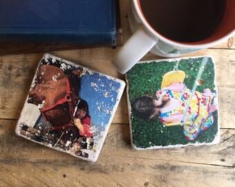 Natural Stone Photo Coasters - Personalized Photo Gift Set - Rustic Decor - Home Decor - Travertine - Marble - Photo Transfer - Instagram
