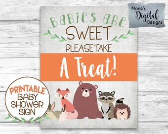 INSTANT DOWNLOAD - Printable Woodland Animal Baby Shower Sign / Babies Are Sweet Please Take A Treat / Forest Animals / Gender Neutral WA001
