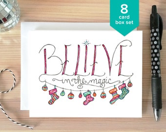 CHRISTMAS CARD SET: Believe in Magic Christmas Card Box Set. Whimsical Holiday Card. Happy Holidays Card. Greeting Card. Hand Drawn Card