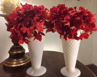 pair of large hobnail milk glass vases