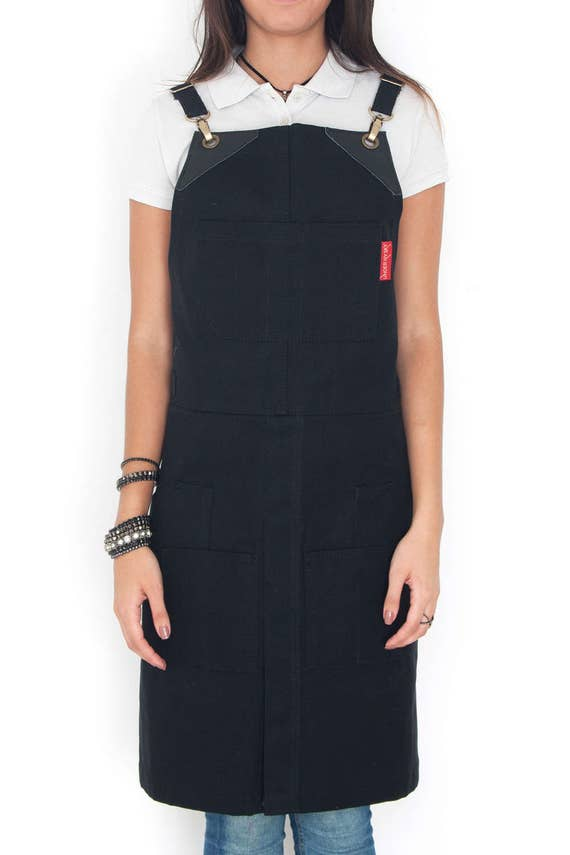 Cargo apron ink black waxed canvas leather