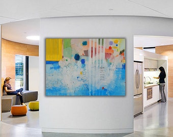 Blue Yellow ABSTRACT LARGE PAINTING,Original Artwork,Canvas Modern Art,Horizontal,For Office & Living Room,Contemporary Wall Art  47 x 31 in