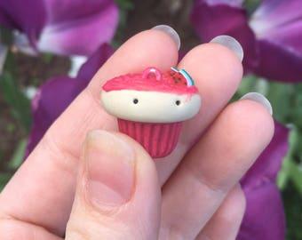 Watermelon clay cupcake charm
