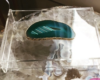 Gold or Silver Plated Agate Lucite Boxes // Available in Small, Medium or Large