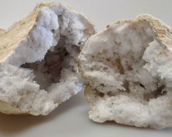 "Bright White Crystal Geode- Two Halves- 6"" Wide"