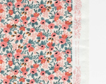 Les Fleurs Peach Rosa Floral by Rifle Paper Co. for Cotton + Steel Fabrics 8004-01 - 100% Cotton Fabric
