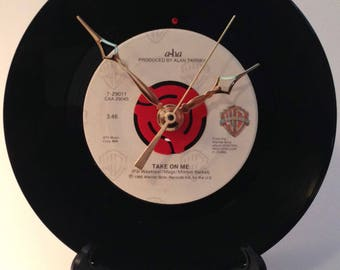 "Recycled A-ha 7"" Record • Take On Me • Record Clock"