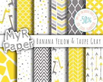 """Giraffe digital paper: """"Banana Yellow & Taupe Gray"""" giraffes pack of backgrounds with papers - zig zag, chevron, moroccan, arrow, scallop"""