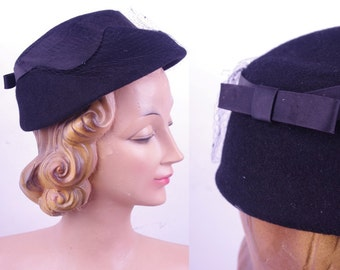Vintage Black 50/60s Henry Pollak NY Bow Hat // VTG Day Hat Party Lady
